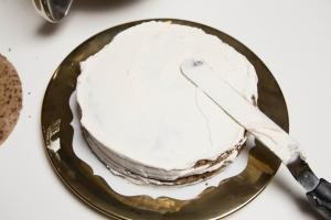 Chocolate-honey Layer Cake with the cream spread on the sides and on the top
