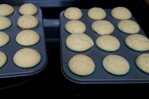 Cupcakes being baked in a cupcake tin
