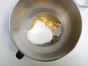 Sugar and eggs in a KitchenAid mixer