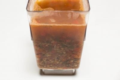 Soup mixture placed into a blender