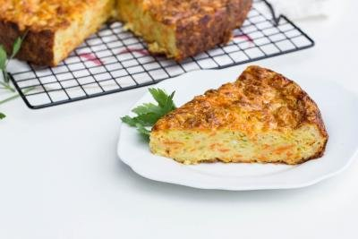 Zucchini Vegetable Slice on a plate with a fork