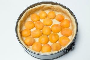 Apricot halves lining the bottom of the deep dish made of dough