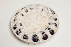 Oatmeal, sugar and coconut flakes spread on top of the Oatmeal Plum Cake