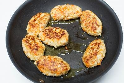 Lazy Cabbage Rolls being fried on a skillet