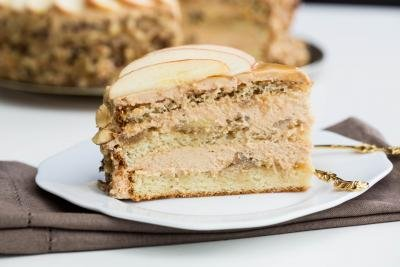 Caramel Apple Cake slice on a plate