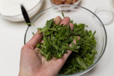 Spinach cut into thin strips