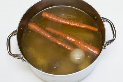 Homemade Chicken Broth in a large pot