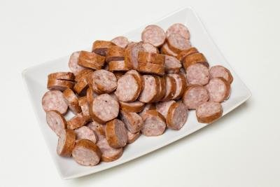 Sausage cut up into rings on a plate