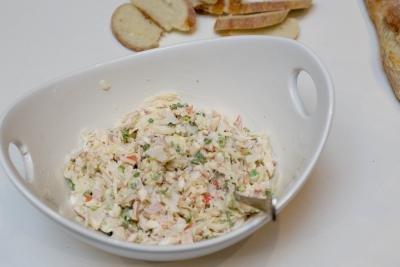 Crab Mushroom Canapés mixture mixed with cream cheese and mayo