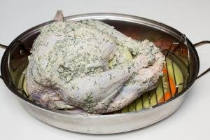 Herbed buttered turkey on a baking pan