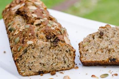 Whole Wheat Banana Bread loaf on a plate