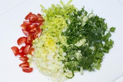 Tuna Cobb Salad on a cutting board