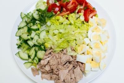 Tuna Cobb Salad on a plate