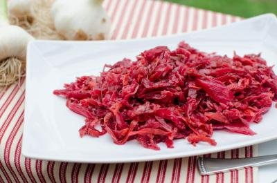 Pickled Cabbage and Beets on a plate