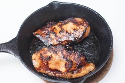 Chicken in a cast iron skillet