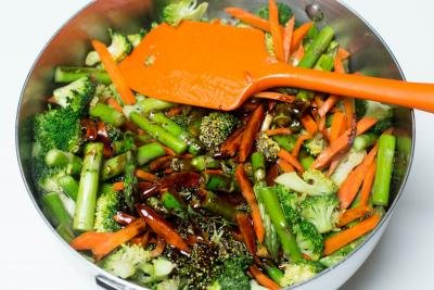 Sauce added into the deep skillet with the veggies