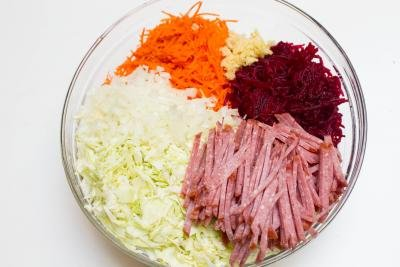 Beet Carrot and Cabbage Salad ingredients in a bowl