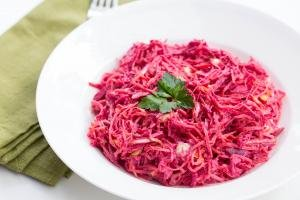 Beet Carrot and Cabbage Salad in a bowl