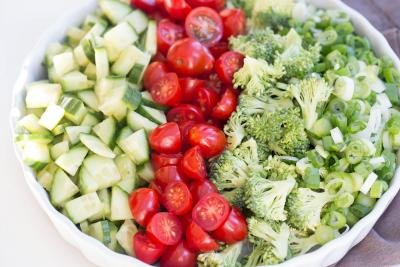 Broccoli Cucumber and Tomato Salad in a bowl