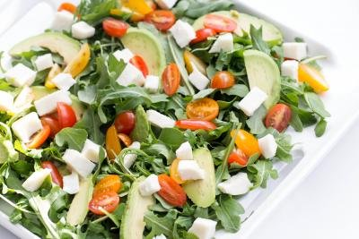 Arugula Caprese Salad on a plate