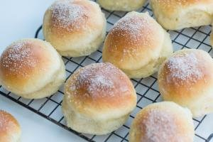 Cottage Cheese Buns on a baking sheet