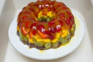 Jello Fruit Cake Dessert on a serving tray