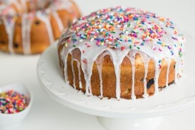 Easter Bread on a cake platter