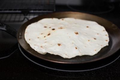 Tortilla on a skillet