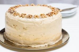 Honey Walnut Poppy Seed Cake on a serving tray