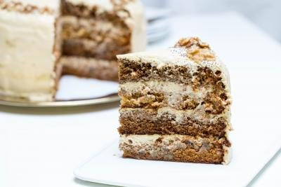 Honey Walnut Poppy Seed Cake slice on a plate
