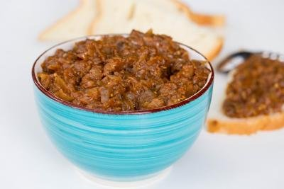 Eggplant Ikra Spread in a bowl