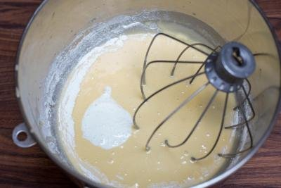 Batter mixture in a KitchenAid mixing bowl