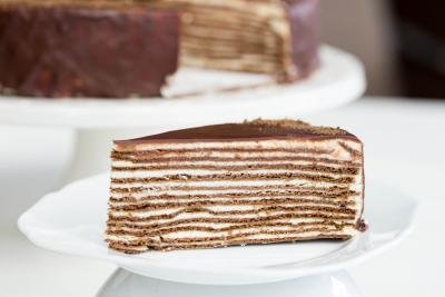 Chocolate Layer Cake (aka Spartak Cake) slice on a plate