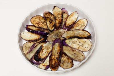 fried eggplant slices on a dish