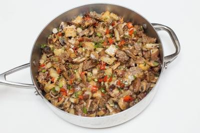 Casserole mixture in a deep skillet
