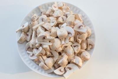 Diced up mushrooms on a plate