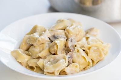 Creamy Mushroom Tortellini in a bowl