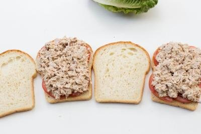 4 slices of bread, 2 with tomatoes, onions and the tuna mixture on them and 2 with nothing on them