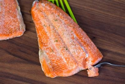 Baked Salmon on a cutting board