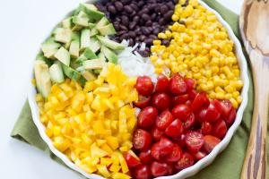 Black Bean Corn Salad on a plate laid into sections