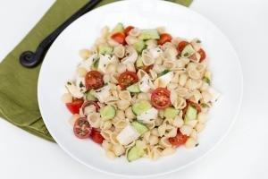 Mozzarella Pasta Salad on a plate