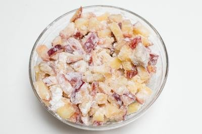 Plum filling mixture in a bowl