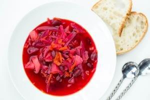 Russian Red Borscht Recipe in a bowl