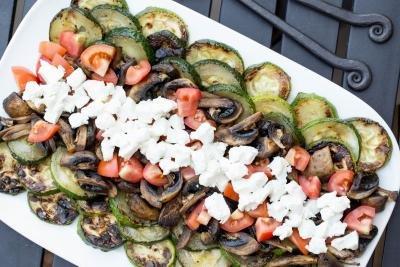 Zucchini Mushroom Salad laid out on plate