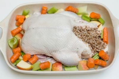 Seasoned duck in a ceramic baking pan filled with buckwheat with apples, carrots and celery around it