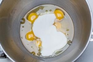 Sugar and eggs in a mixing bowl