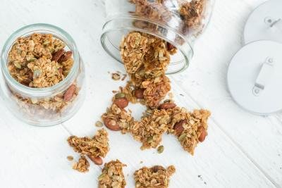 Coconut Granola Snack spread on the cutting board