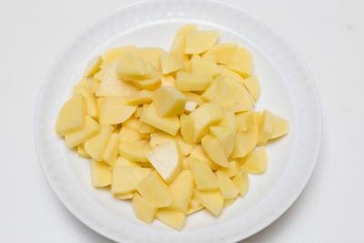 Diced potatoes on a plate