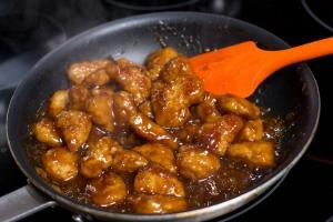 P.F. Chang's Homemenu Honey chicken in a skillet