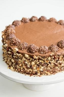 Ferrero Rocher Cake on a cake platter